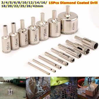 15Pcs 3-42mm Diamond Coated Drill Bits Set Hole Saw Cutter Metal Tool Glass - intl