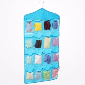 16 Grid Underwear Socks Ties Hanging Storage Bag Organizer (Blue)