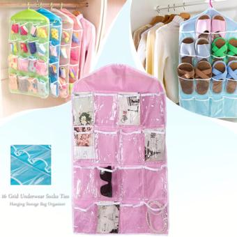 16 Grid Underwear Socks Ties Hanging Storage Bag Organizer (Pink)