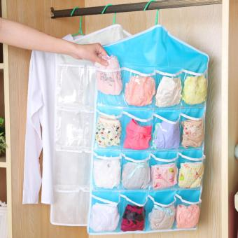 16 Pocket Clear Hanging Closet Organizer (Blue)
