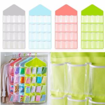 16-Pocket Hanging Closet Organizer Jewelry Accessories BraUnderwear Socks Ties Panties Storage (Green)