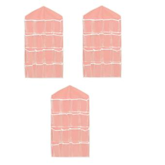 16 Pockets Clear Closet Organizer for Socks Bra UnderwearAccessories, Set of 3