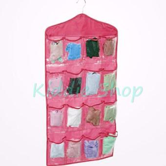 16 Pockets Clothes Storage Bag for Shoes Socks Organizer WardrobeHanging Jewelry Bags (PINK)