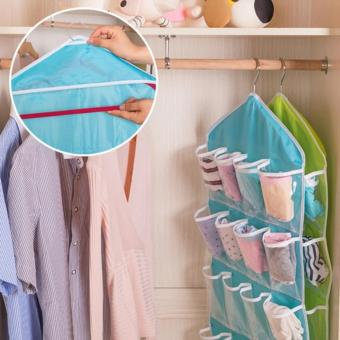 16 Pockets Door Wardrobe Hanging Bag DIY Rack Hanger StorageOrganizer (Beige) - 3