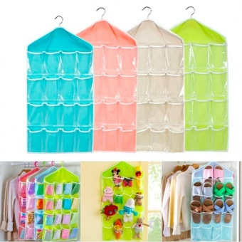 16 Pockets Door Wardrobe Hanging Bag DIY Rack Hanger StorageOrganizer (Pink) - 2