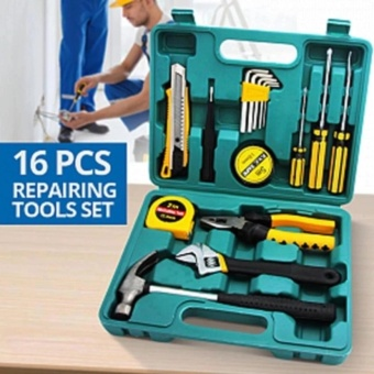 16pcs Professional Hardware Tools Set Accessory Repair HomeTool-Box Kits Case KS8016 (Green)