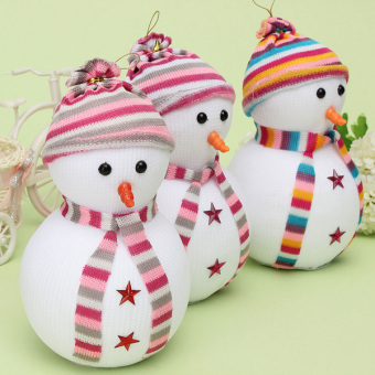 17cm Christmas Hanging Snowman with Scarf Hat for Wall Door Tree Decoration