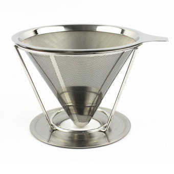 1Cup New arrival Paperless Pour Over Coffee Dripper Stainless SteelReusable Coffee Filter with holder without silicone - intl