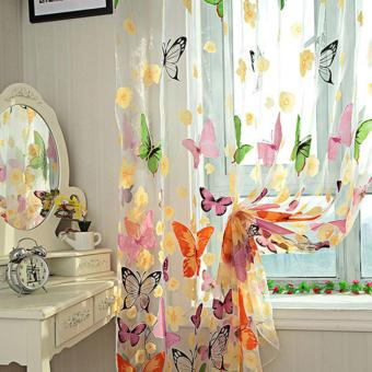 1pc Colorful Butterfly Printing Curtain Organdy Panel - 2