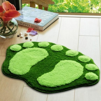 1PC Cute Feet Shape Anti-Slip Bath Doormat Home Kitchen DecorativeDoor Mat- Green - intl
