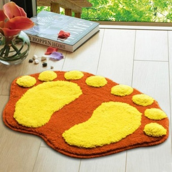 1PC Cute Feet Shape Anti-Slip Bath Doormat Home Kitchen DecorativeDoor Mat- Orange - intl