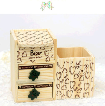 1pc Cute Wooden Pen Holder Pencil Container with Drawer DeskAccessories Office School Supplies Korea Stationery - intl