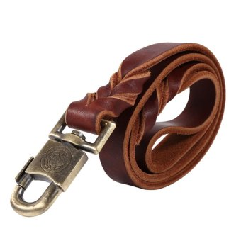 1pc Soft Leather Dog Collar & Leash in Braided Pet Chain (2.5 x90cm) - intl