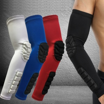1Pcs Black Elastic Gym Sports Long Arm Sleeve Support BasketballShooting Honeycomb Sport Elbow Arm Warmers Pad for Cycling CampingIntL - intl