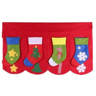 1Set (Up and Down ) Christmas Decorative Door Window Cute ChristmasStocking Socks Curtains for Living Room WA795 T10 - intl - 5