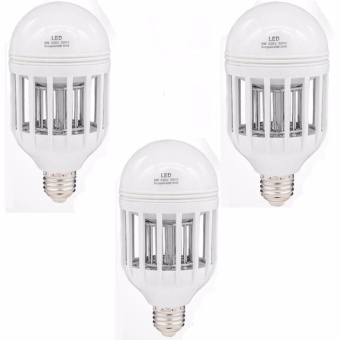 2 in 1 Bug Zapper LED Bulb, 85V-265V E27 Mosquito Killer Light Bulbs, Indoor/Outdoor Lighting lamp for Flying Insects Wasp Moths Fly Killer Set of 3