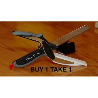2 in 1 Clever Cutter Knife with Cutting Board Scissors Slicers (Black) -PROMO SALE !