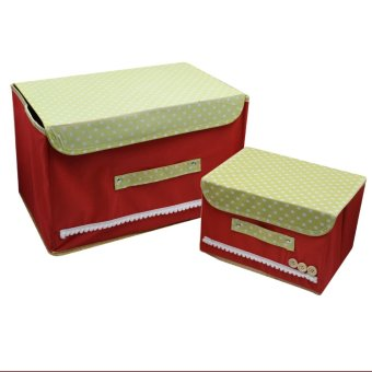 2 in 1 Foldable Cloth Storage with Handle Organizer Set of 2(Red) - 3