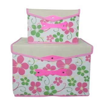 2-in-1 Foldable Storage Box Organizer (3 White/Pink/LightGreen)