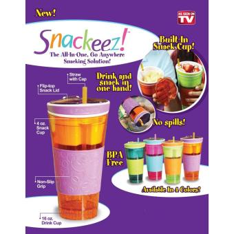 2 in 1 Snackeez Plastic Snack and Drink Cup (Green/Orange) - 3
