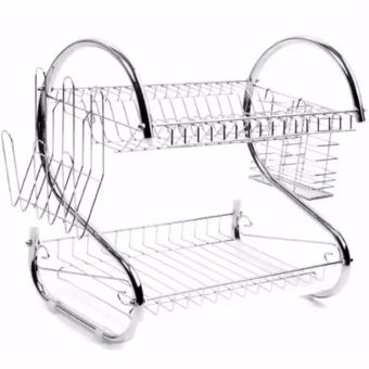 2 Layer Dish Drainer / Kitchen Rack with Mini Portable Fan (Color May Vary) - 3