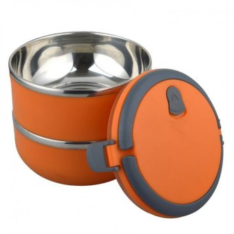 2 Layers Stainless Steel Thermal Bento Lunch Box Thermos InsulationStorage food Container Dinnerware with Handle (Orange)