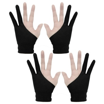 2 Pairs Professional 2-fingers Artist Tablet Drawing Gloves Anti-fouling for Graphic Tablet Drawing Pen Display Size S Black - intl