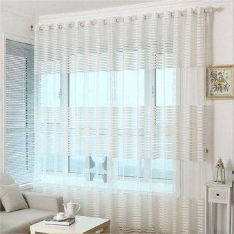 2 Pcs 140*240cm Striped Window Curtain See Through Sheer VoileDrape   White    Intl