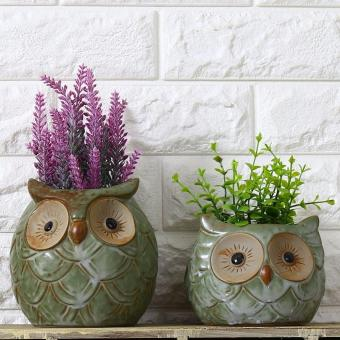 2 PCS Ceramic Owl Garden Pots Planters Pastoral Style RetroCreative Succulents Nursery Floral Organ Garden Supplies (S+M) -intl Price Philippines