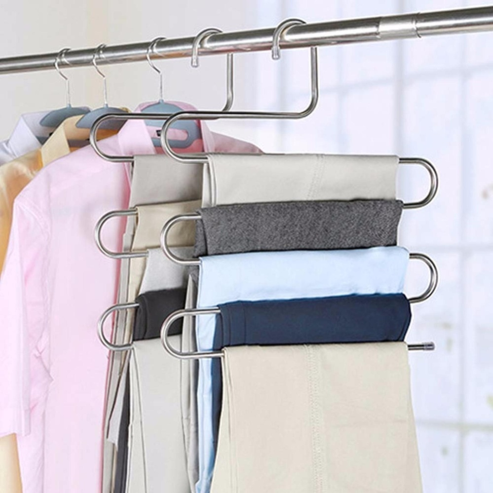 2 PCS Pants Hangers S Type Stainless Steel Trousers Rack 5 Layers Multi Purpose