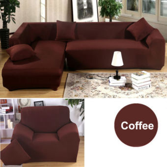 2 Seater L Shape Loveseat Chair Stretch Sofa Couch Protect Cover Slipcover Coffee