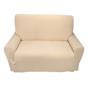 2 seater Pure Colour Polyester Sofa Anti-mite Soft Couch Slipcovers Beige - intl