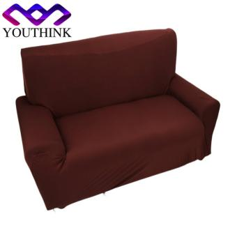 2 seater Sofa Anti-mite Soft Couch Slipcovers Brown - intl