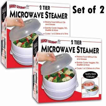 2 Tier Microwave Steamer To Cook & Steam Vegetables Fish RiceSet of 2
