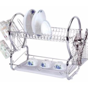 2 Tiers Kitchen Dish Drying Rack with Tray (Silver)