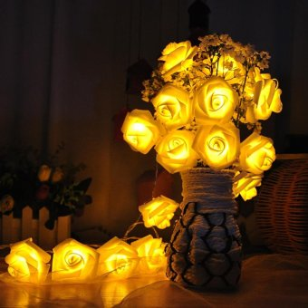 20 LED Battery Operated String Lights Rose Flower,Warm White - intl