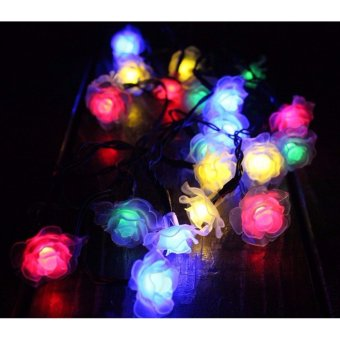 20 Leds Solar Powered Plastic Rose Flower String Lights Lamp for Christmas Party Wedding Garden Outdoor Fairy Decoration (Multi-color) - intl - 3