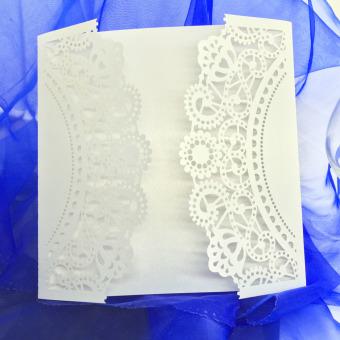 20 pcs White Laser Cut Wedding Celebration Birthday Party Invitation Card - 2