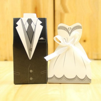 200 Pcs/set Double-breasted Bride and Groom Wedding Gift PaperFavour Boxes Formal Dress Tuxedo Dress Candy Gift Boxes - intl