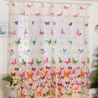 200cm x100cm Butterfly Print Sheer Window Curtains for Room Divider Living Room
