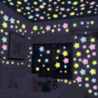 200PCS Stars Glow In The Dark Stickers Wall Decal Kids Baby Home Bedroom Decor - intl