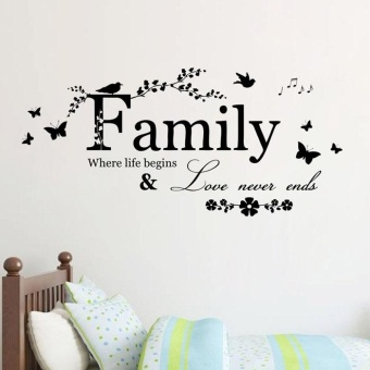 2015 Family Flower Butterfly Art Vinyl Quote Wall Stickers WallDecals Home Deco - intl Price Philippines