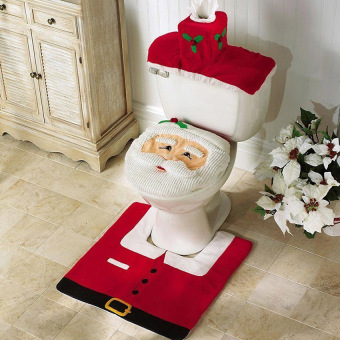 2016 High Quality Christmas Decorations Santa Claus patterns ToiletLid Cover and Rug Set(red)