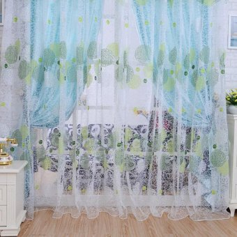 2016 Home Decoration Leaves Pattern Window Voile Curtains 100 *200CM Living Room Sheer Tulle Valance Curtain Blinds - intl