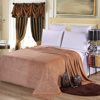 2016 Luxury Quilting Flannel Blanket Camel Color Comforter Soft - intl