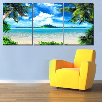 2016 New 3 Panel Modern Printed Seascape Sea Wave Oil Canvas Painting Cuadros Seaside Wall Art Picture For Living Room (No frame)