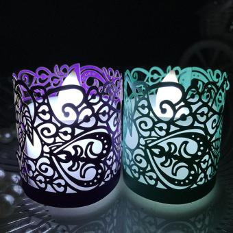 20PCS Flameless Tea Light Votive Wraps For Flickering LED BatteryTealight Candles Bead light purple - intl