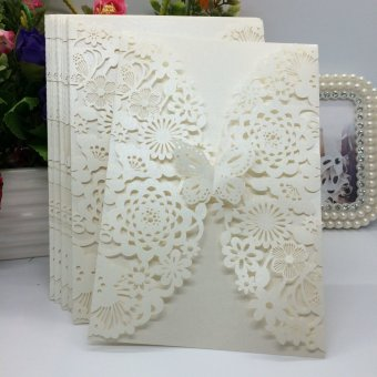 20Pcs Romantic Wedding Party Invitation Card Delicate CarvedFlowers Decoration