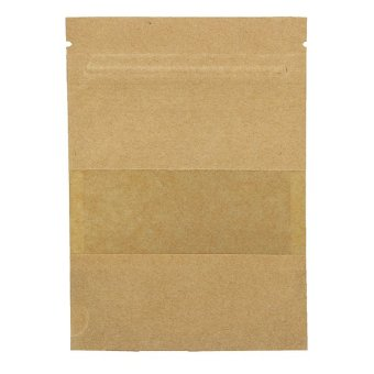 20PCS Stand Up Bag Seal Packaging Kraft Paper Window Sealable Pouch