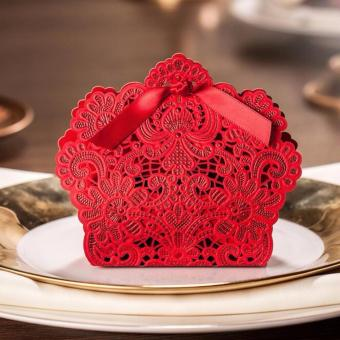 20sets Wedding favors Red Elegant Lace Design Wedding/Events/Party/Special Occasion Paper Favor Box with Ribbon Gift Box